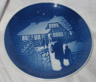 Vintage Bing and Grondahl Blue and White Porcelain Plate 1973 Christmmas Plate
