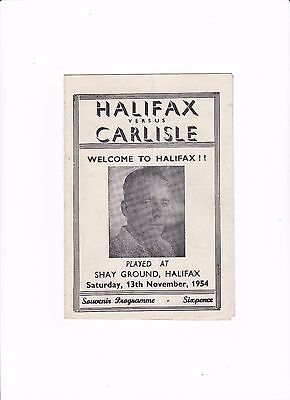 1954/55 HALIFAX v CARLISLE UNITED (Division 3 North) RARE PIRATE SOUVENIR ISSUE