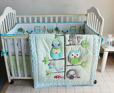 Baby Bedding Crib Cot Quilt Set 8pcs Quilt Bumper Sheet Dust Ruffle
