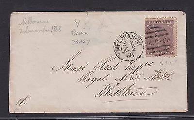 Victoria 1868 2D Laureate Cover Melbourne To Whittlesea   (Ca90)