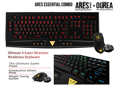 Gaming Keyboard and Mouse bundle with Ultimate Game & Consecutive Attack Modes