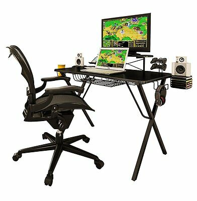 Gaming Desk Pro Table with Elevated shelf Speaker Trays Headphone and Cup Holder