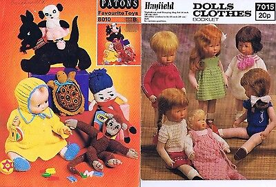 Lot 3 Toys Dolls Knitting Crochet Pattern books Patons Doll Clothes Dress Hats
