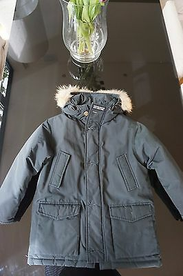 Woolrich john rich & bros. Boys navy coat with fur trimmed hood age 10 years