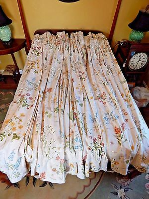 Two Pairs (4 Panels) Vintage Cream And Floral Hand Made Pleated Lined Draperies