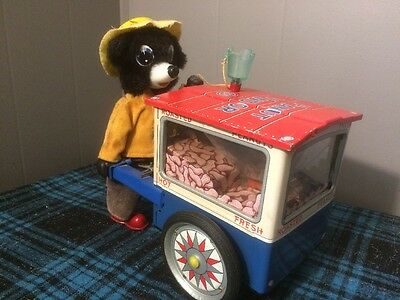 1950s Battery Operated The Jolly Peanut Vendor Bear Tin Litho Japan Cragstan