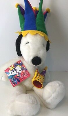 """Large SNOOPY MACYS Plush Stuffed JESTER HAT White Red Collar HORN 24"""" Millennial"""