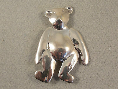 Fine Solid Silver TEDDY BEAR BROOCH c1990
