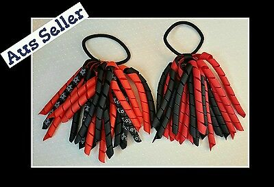 2x New Girls Curly Ribbon Corker Korker  Tie  *Black and Red*