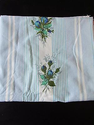 VINTAGE FRENCH ROMANEX BAGATELLE PALE BLUE ROSE STRIPE COTTON FABRIC 8ft x 4ft