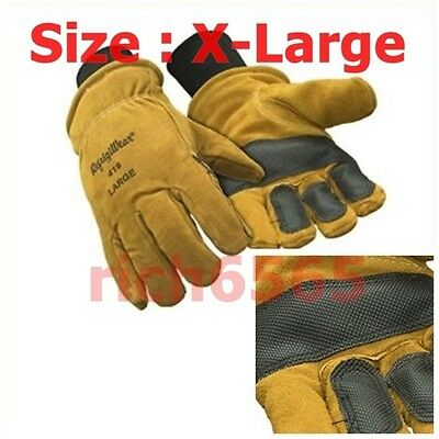 Insulated Cowhide Gloves Leather Cowhide Work Safety XL Protection Hand Warmer