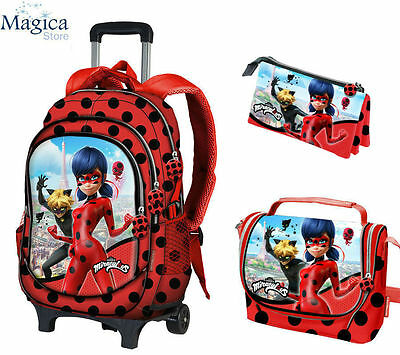 Miraculous Ladybug  Trolley backpack 44cm+pencil case+lunch bag OFFICIAL