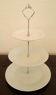 Six (6) white three tier cake stands for afternoon tea / wedding