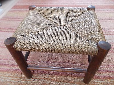 vintage retro woven string rope stool chair