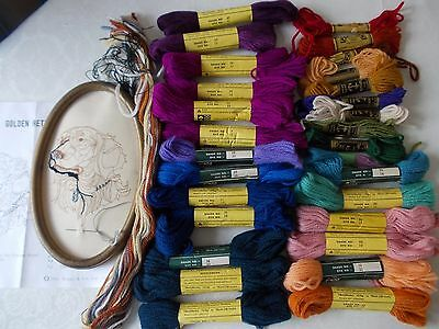 job lot Twilleys & Anchor tapestry wool + started project