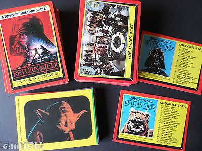 TOPPS 1983 STAR WARS return of the jedi 133 CARD SET & 33 STICKER SET+WRAPPERS