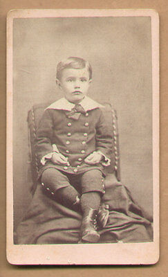 1870 CDV Photo Well Dressed Young Boy Lace Buttons By J.D. Gebhart, Olathe, Kas.