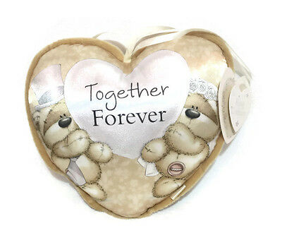 """Beautiful Heart Shape Wedding Ring Pillow Cushion Bearer  """"Together Forever"""""""