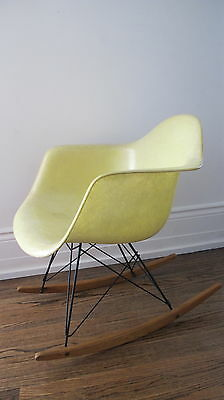 Very Rare Eames Zenith Rocker Chair Rope Edge Lemon Yellow