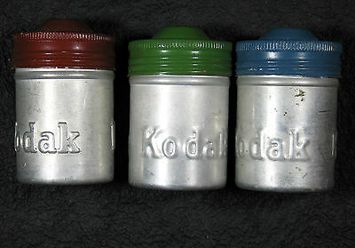Kodak 35 mm Film Cans from the 1940s - bare aluminum B&W set of 3