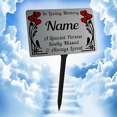 Personalised Memorial Plaque with Stake. 5 Styles See Photos, Garden, Grave, etc