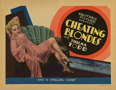 CHEATING BLONDES, original, vintage 1933 Title Card, THELMA TODD