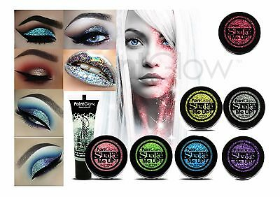 Holographic GLITTER SHAKERS Face Lips Nails Eyeshadow Loose UV Reactive Gel Glue