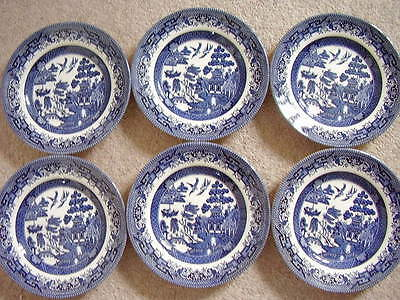 Broadhurst England porcelain blue and white plate,set of 6, 17 cm wide,Willow