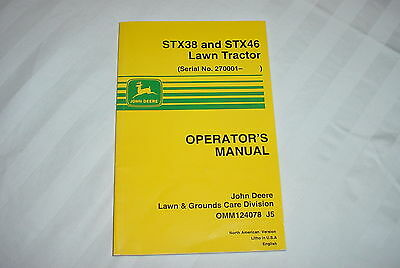 John Deere STX38 and STX46 riding mower operators manual  near mint
