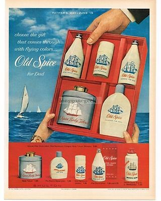 1960 OLD SPICE Gift Set Talcum Powder Lotion Deodorant with prices VTG PRINT AD
