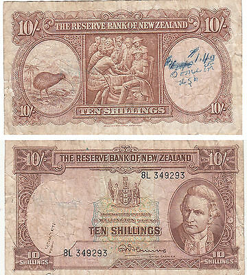 New Zealand Reserve Bank 10 Shillings Banknote,p#158,1940-55,#8L 349293