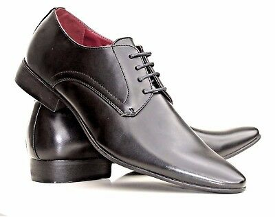 Mens Casual Shoes Black Formal Party Office Smart Leather  Designer Lace Up Size