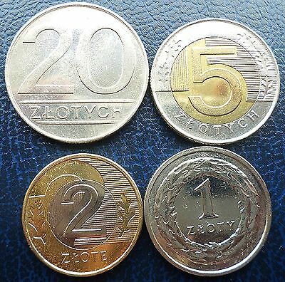 Poland - lot of 4 coins - 20, 5, 2 & 1 Zloty- 1987-2015