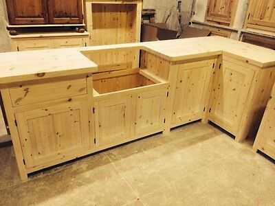 Bespoke Solid Wood Kitchen Cabinets UNFINISHED - 40mm solid pine worktop