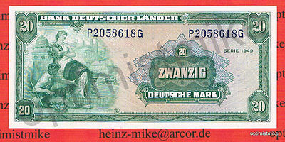 20 DM 1949 UNC Kassenfrisch Ros.260 Pick 17a Germany Deutsche Mark