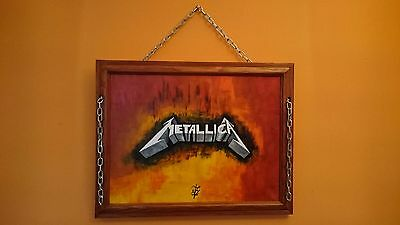 Metallica Logo Canvas Wall Painting Acrylic Art – Hand Painted And Framed