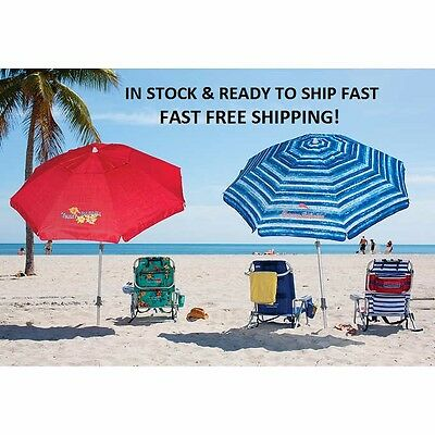 Tommy Bahama 7 Beach Umbrella W Tilt Blue Red Color Fast Free Shipping