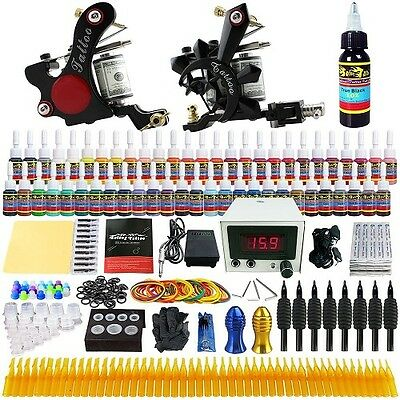 Complete Tattoo Pro Kit 2 Guns Inks Needles Tips Cups LCD Foot Pedal Plus More