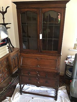 Antique Jacobean Style Writing Bureau With Glass Fronted Bookcase