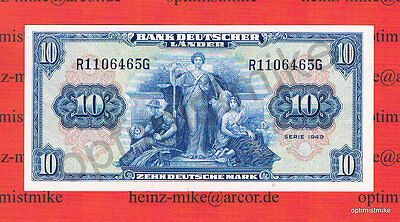 10 DM 1949 UNC Kassenfrisch Ros.258 Pick 16a Germany Deutsche Mark