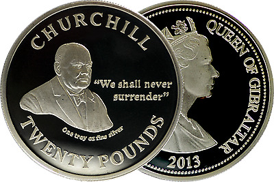 "20 POUNDS Gibraltar SILVER  - 2013 Churchill ""We Shall Never Surrender""- BU UNC"