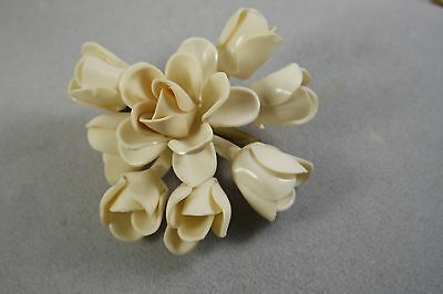 Vintage  Early Plastic  Rose  Brooch/ White Off