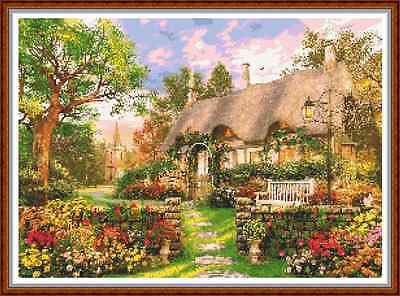"'CHURCHSIDE COTTAGE' Cross Stitch Chart (17½""x12½"") Detailed/Garden/Landscape"