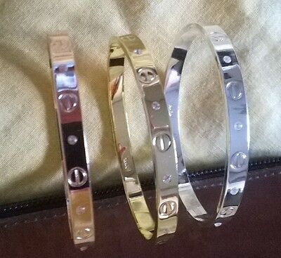 Bracelet love +Swarovski  argent , or jaune , or rose (bangle love clou fashion)
