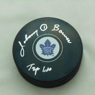 Johnny Bower Autographed Toronto Maple Leaf Licensed Puck - Top 100