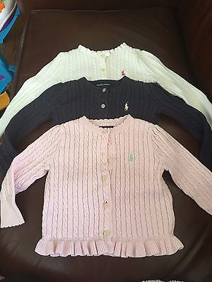 (3) Toddler Girl's RALPH LAUREN Cardigan Sweaters - Size 24M/2T