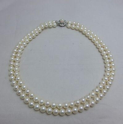 Japanese Cultured Akoya Pearl Off Brand Double Strand Necklace 7.5MM 15.75""