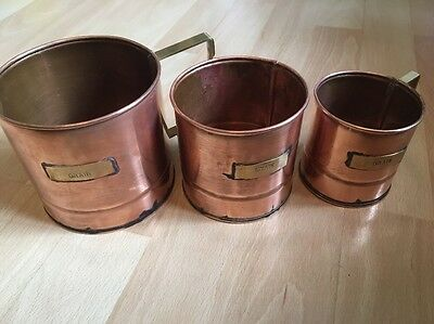 Vintage Set Of 3 Copper Grain Measuring With Brass Label And Handle