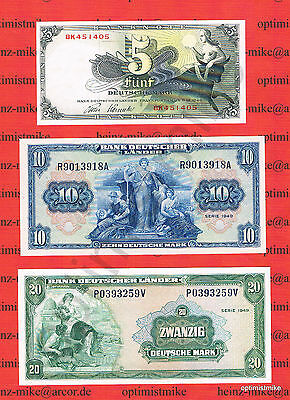 5, 10 und 20 DM 1948/49 AU/XF  Germany - Federal Republic Deutsche Mark