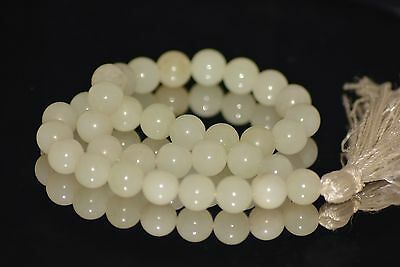 WHITE NATURAL JADE NEPHRITE ROSARY 10mm-50g PRAYER BEAD BEADS